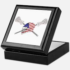 American Flag Lacrosse Helmet Keepsake Box