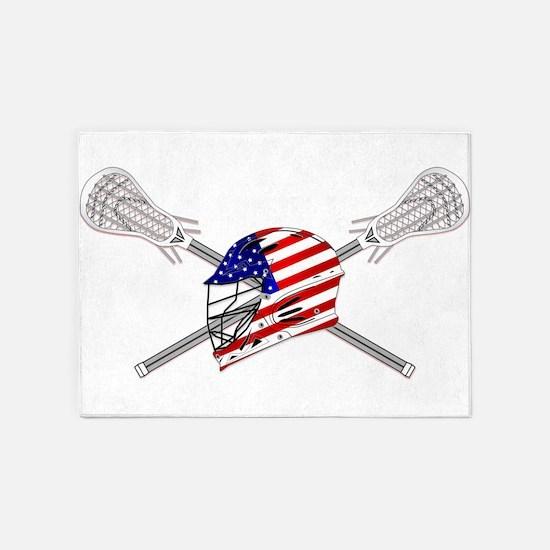 American Flag Lacrosse Helmet 5'x7'Area Rug