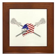 American Flag Lacrosse Helmet Framed Tile