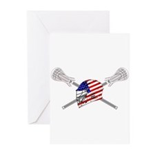 American Flag Lacrosse Helmet Greeting Cards