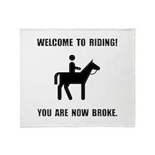 Horseback Riding Broke Throw Blanket