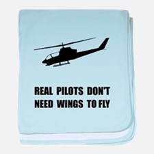 Helicopter Pilot Wings baby blanket