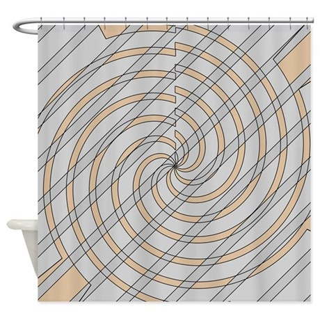 Gray And Beige Townmore Shower Curtain By