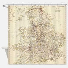 Vintage Map of England (1837) Shower Curtain