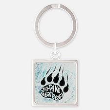 Save Polar Bears Square Keychain