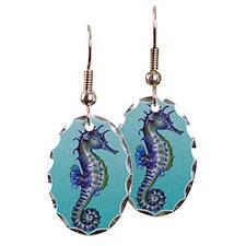 Seahorse Blue Earring