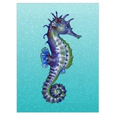 Seahorse Blue Poster