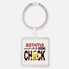 Asthma MessedWithWrongChick1 Square Keychain