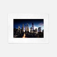 City Skyline at Night 5'x7'Area Rug