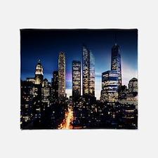 City Skyline at Night Throw Blanket