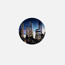 City Skyline at Night Mini Button