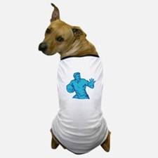 Rugby Player Running Fending Etching Dog T-Shirt