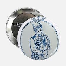 "Scotsman Bagpiper Playing Bagpipes Etching 2.25"" B"