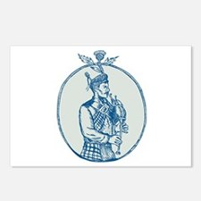 Scotsman Bagpiper Playing Bagpipes Etching Postcar
