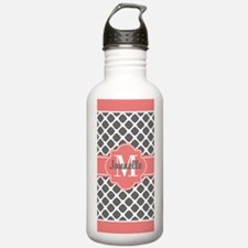 Gray and Coral Chevron Water Bottle
