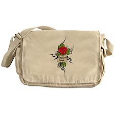 Customized Rose on Tattoo Background Messenger Bag