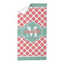 Mint Coral Quatrefoil Custom Monogram Beach Towel
