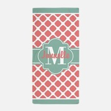 Mint Coral Quatrefoil Custom Monogram Beach Towel