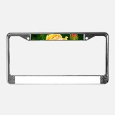 Beautiful Yellow and Red Roses License Plate Frame