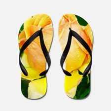 Beautiful Yellow and Red Roses Flip Flops