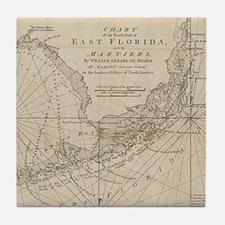 Vintage Map of The Florida Keys (1771 Tile Coaster