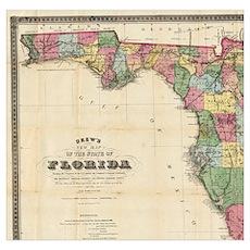 Vintage Map of Florida (1870) Poster