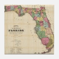 Vintage Map of Florida (1870) Tile Coaster