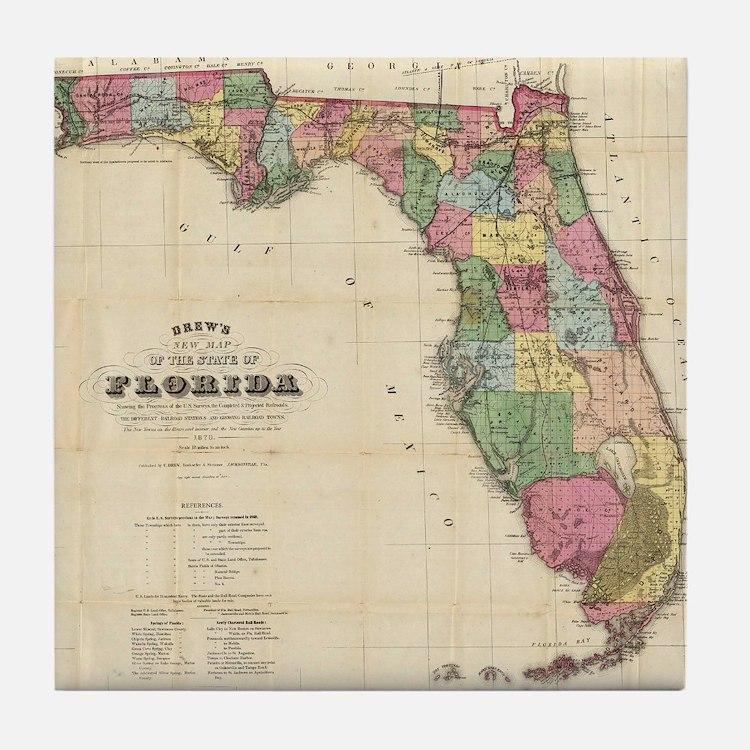 Vintage Map of Florida (1870) Tile Coaster