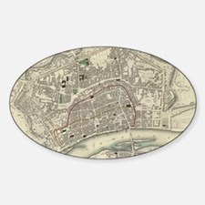 Vintage Map of Frankfurt Germany (1 Sticker (Oval)