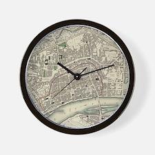 Vintage Map of Frankfurt Germany (1837) Wall Clock