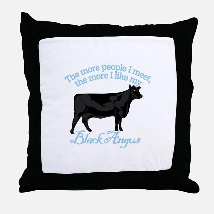 Black Angus Throw Pillow