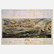Vintage Map of The Gettysburg Battlefield (1863)