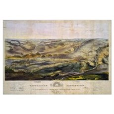 Vintage Map of The Gettysburg Battlefield (1863) Canvas Art