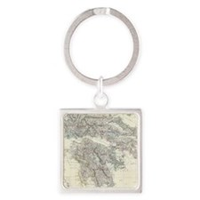 Vintage Map of Greece (1861) Square Keychain