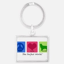 Funny Peace love dogs Landscape Keychain