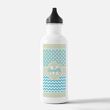 Mint Blue Chevron Polk Water Bottle