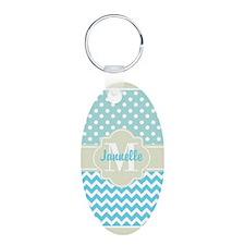 Mint Blue Chevron Polka Dot Keychains