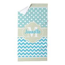 Mint Blue Chevron Polka Dots Custom Mo Beach Towel