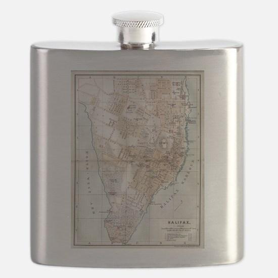 Vintage Map of Halifax Nova Scotia (1890) Flask