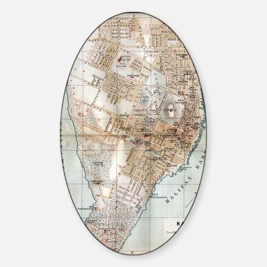 Vintage Map of Halifax Nova Scotia  Sticker (Oval)