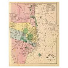 Vintage Map of Halifax Nova Scotia (1878) Poster