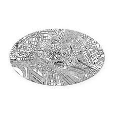 Vintage Map of Hamburg Germany (19 Oval Car Magnet