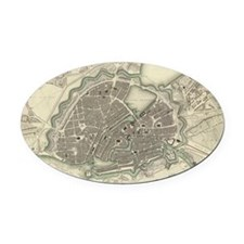 Vintage Map of Hamburg Germany (18 Oval Car Magnet