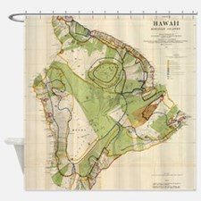 Vintage Map of Hawaii Island (1906) Shower Curtain