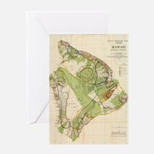 Vintage Map of Hawaii Island (1906) Greeting Card