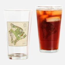 Vintage Map of Hawaii Island (1906) Drinking Glass