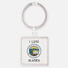 I Love Alaska Keychains