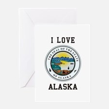 I Love Alaska Greeting Cards
