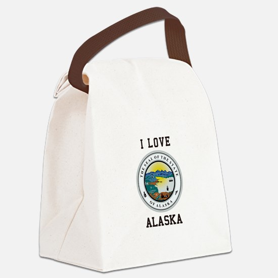 I Love Alaska Canvas Lunch Bag