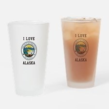I Love Alaska Drinking Glass
